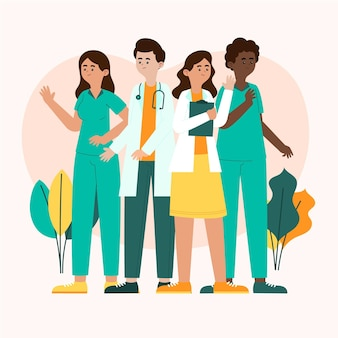 Organic flat doctors and nurses illustrated