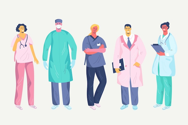 Illustrazione di medici e infermieri piatti organici