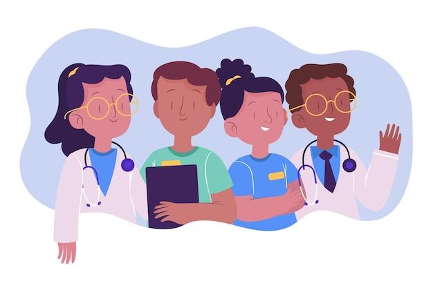 Organic flat doctors and nursesillustration
