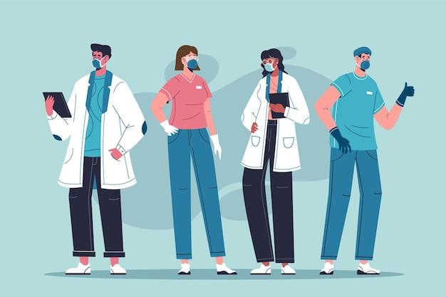 Organic flat doctors and nurses