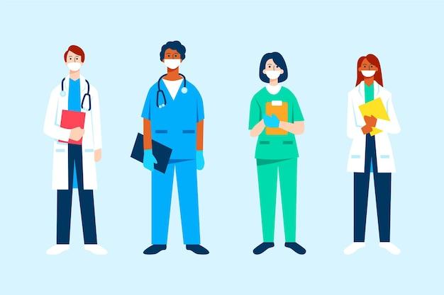 Organic flat doctors and nurses Free Vector