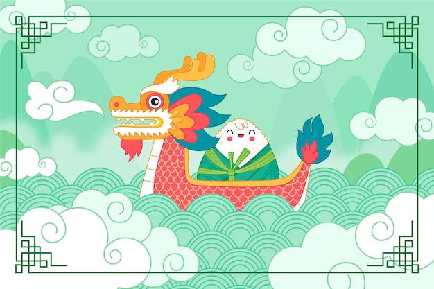 Organic flat dragon boat background