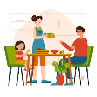 Семья органических плоских лодок-драконов готовит и ест иллюстрацию цзунцзы Бесплатные векторы