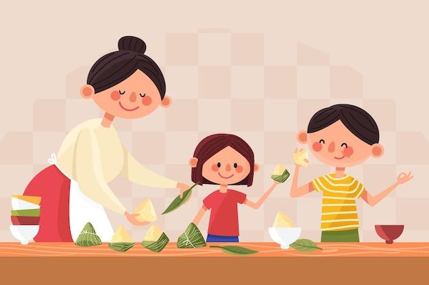 Zongzi 일러스트를 준비하고 먹는 유기 평면 드래곤 보트 가족