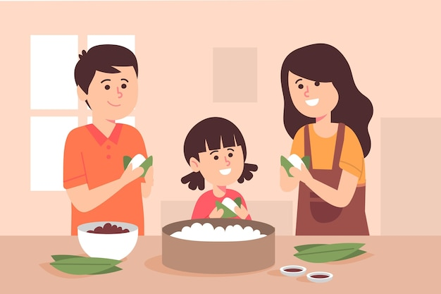 Famiglia piatta organica della barca del drago che prepara e mangia l'illustrazione di zongzi