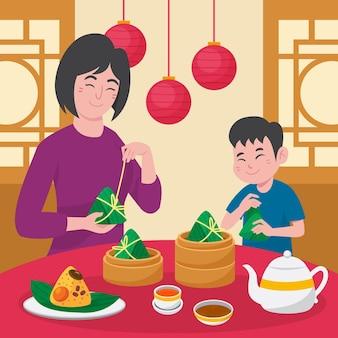 Organic flat dragon boat family preparing and eating zongzi illustration