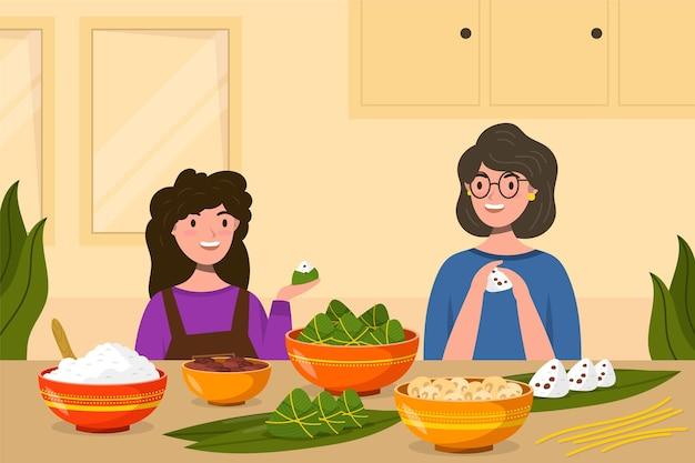 Illustrazione di barca drago piatto organico con la famiglia che prepara e mangia zongzi