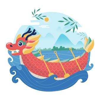 Органическая плоская лодка-дракон иллюстрация