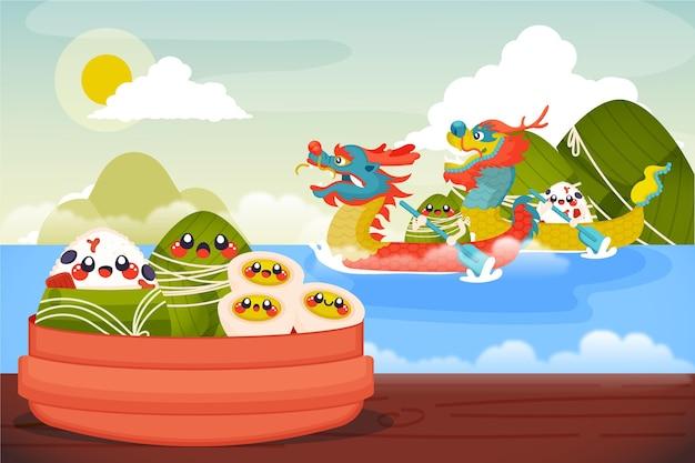 Organic flat dragon boat's zongzi background