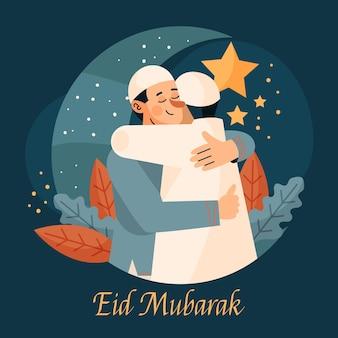 Illustrazione di eid al-fitr piatto organico