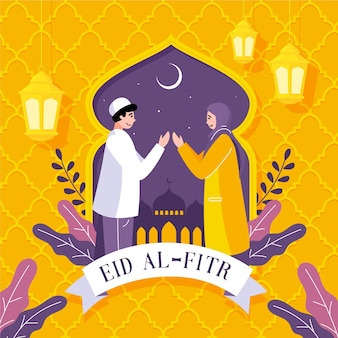 Organic flat eid al-fitr illustration