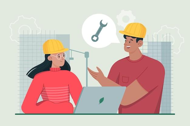 Organic flat engineers working on construction