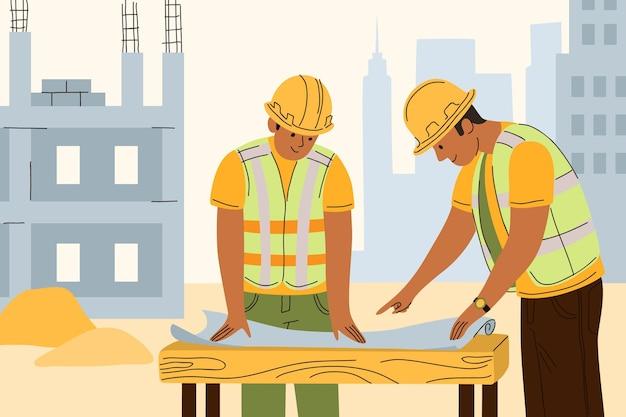 Органические плоские инженеры, работающие над иллюстрацией строительной иллюстрации