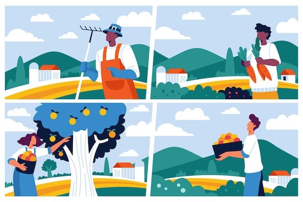 유기 평면 농업 직업 컬렉션