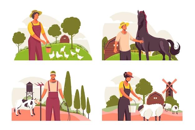 Коллекция профессий органического плоского земледелия