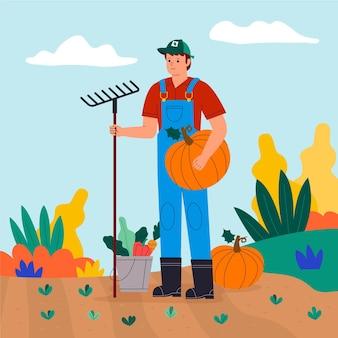 Иллюстрация профессии органического плоского земледелия