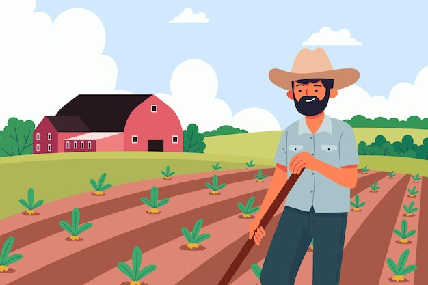 Organic flat farming profession illustration