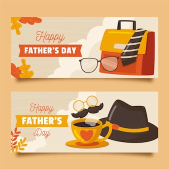Organic flat father's day banners set