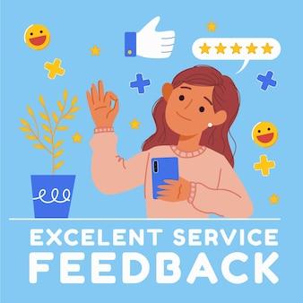 Concetto di feedback piatto organico