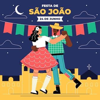 Органическая плоская иллюстрация festa junina