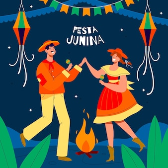 Organic flat festa junina illustration