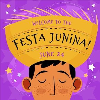 Organic flat festa junina illustration