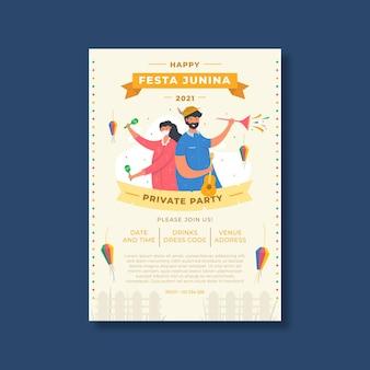Organic flat festa junina vertical poster template