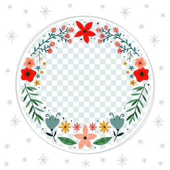 Органическая плоская цветочная рамка facebook