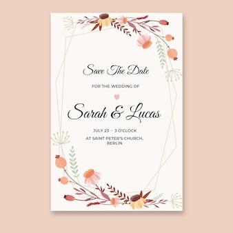 유기 평면 꽃 결혼식 초대장 서식 파일