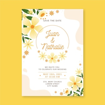 Organic flat floral wedding invitation template
