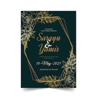 有機フラット花の結婚式の招待状のテンプレート