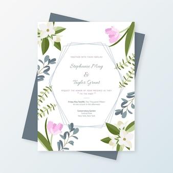 Органический плоский цветочный шаблон свадебного приглашения