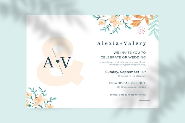 Organic flat floral wedding invitation template