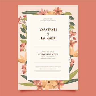 有機フラット花の結婚式の招待状