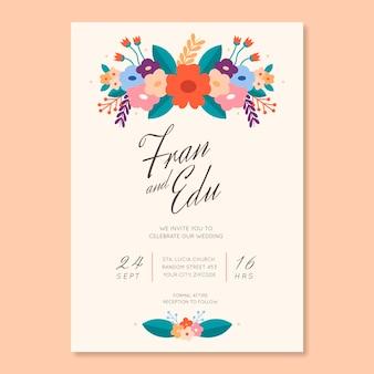 Органическое плоское цветочное свадебное приглашение