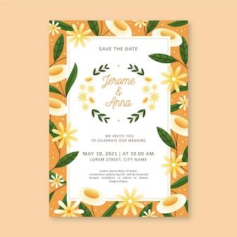 Invito a nozze floreale piatto organico