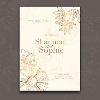 Organic flat floral wedding invitation
