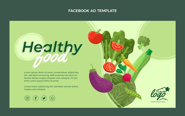 Organic flat food facebook ad