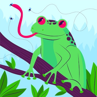 Organic flat frog illustrated