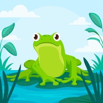Illustrazione di rana piatta organica