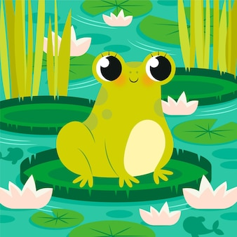 Organic flat frog illustration