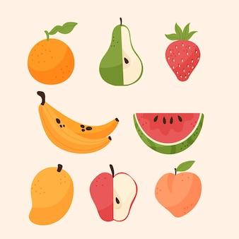 Коллекция органических плоских фруктов