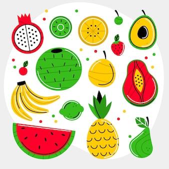 Organic flat fruit collection