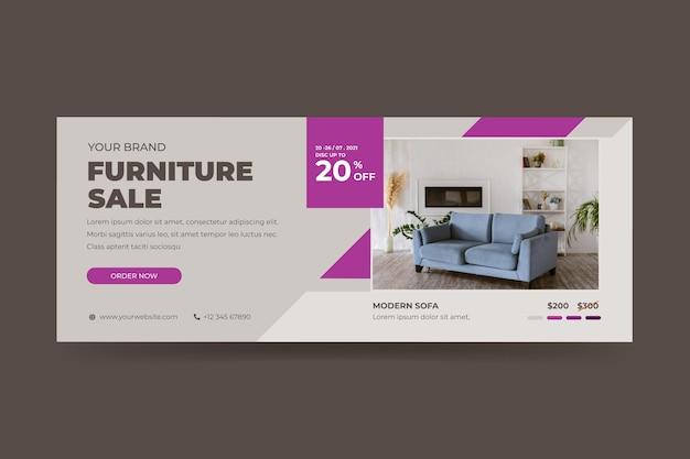 Шаблон баннера для продажи органической плоской мебели