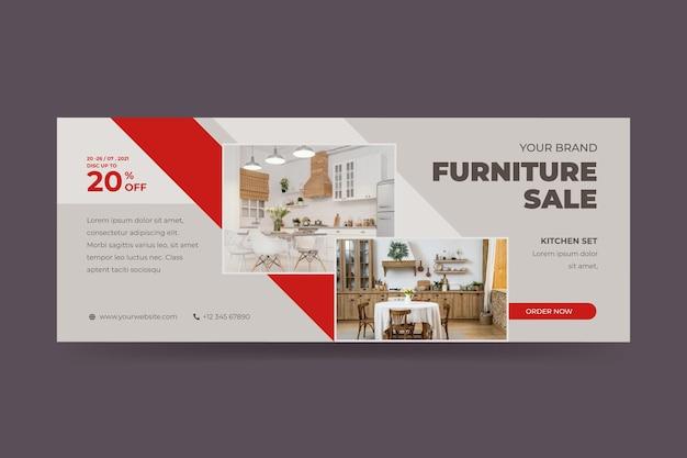 Modello di banner di vendita di mobili piatti organici