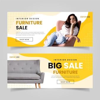 Organic flat furniture sale banner template