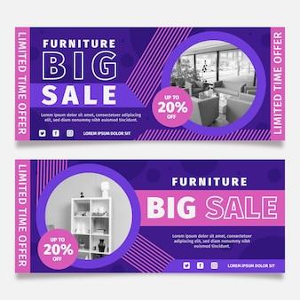 Баннер продажи органической плоской мебели с фото