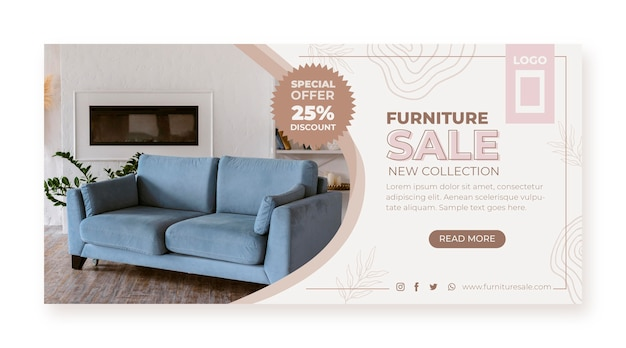 Organic flat furniture sale banner with photo