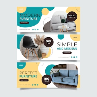 Organic flat furniture sale banner