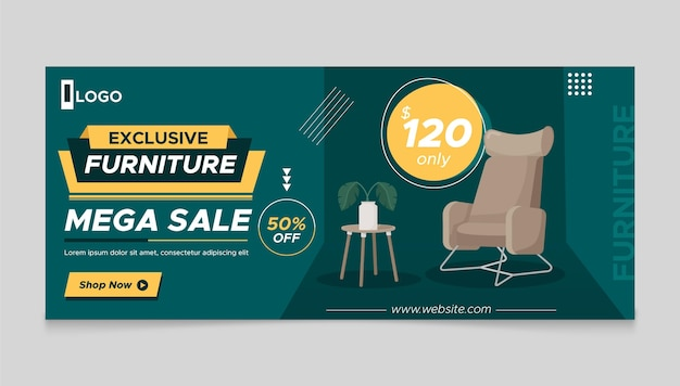 Organic flat furniture sale banner